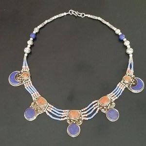 Lapis Lazuli/Coral Sterling Silver